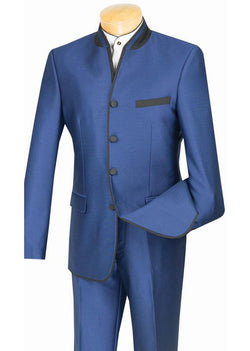 Oriental Collection - Banded Collar Slim Fit Suit Shiny Sharkskin 2 Piece Blue