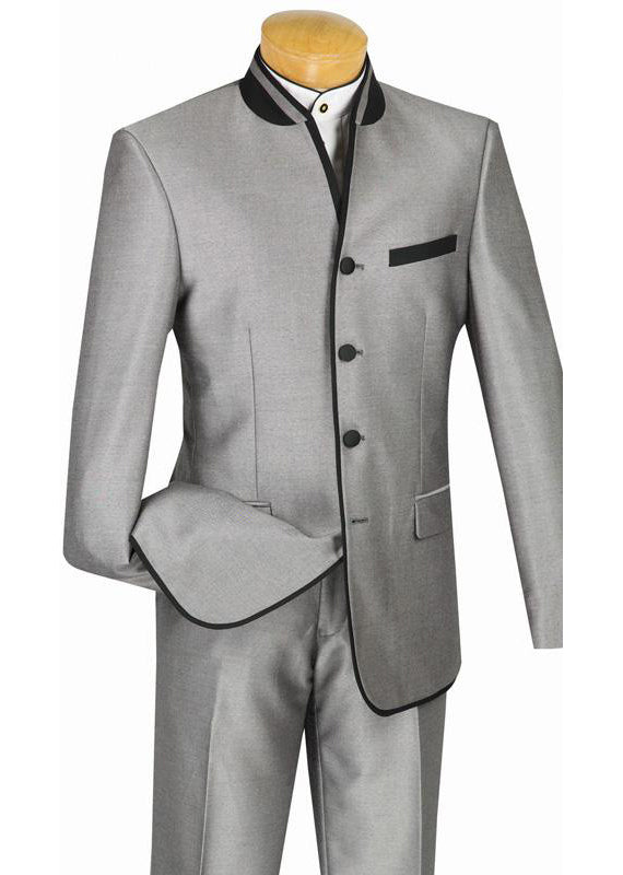 Oriental Collection - Banded Collar Slim Fit Suit Shiny Sharkskin 2 Piece Gray
