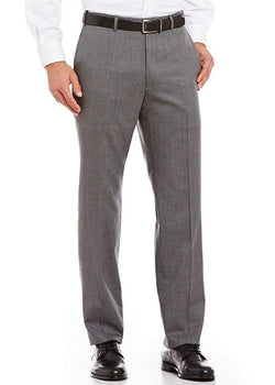 Gray Dress Pants Regular Leg Flat Front Pants Pre-Hemmed - SUITS FOR MENS