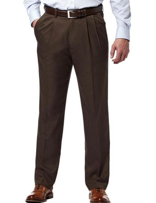 Brown Dress Pants Regular Leg Pleated Pre-hemmed With Cuffs - SUITS FOR MENS