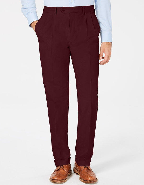 Burgundy Dress Pants Regular Leg Pleated Pre-hemmed With Cuffs - SUITS FOR MENS