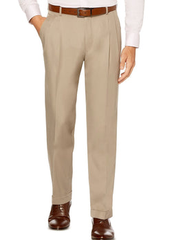 Khaki Dress Pants Regular Leg Pleated Pre-hemmed With Cuffs - SUITS FOR MENS