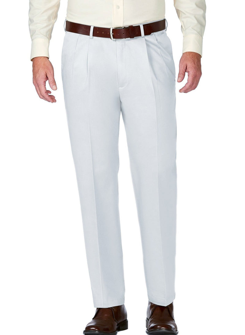 White Dress Pants Regular Leg Pleated Pre-hemmed With Cuffs