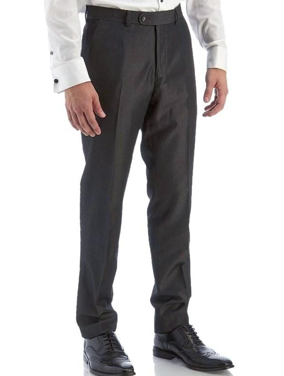 Charcoal Dress Pants Regular Leg Pleated Pre-hemmed With Cuffs - SUITS FOR MENS