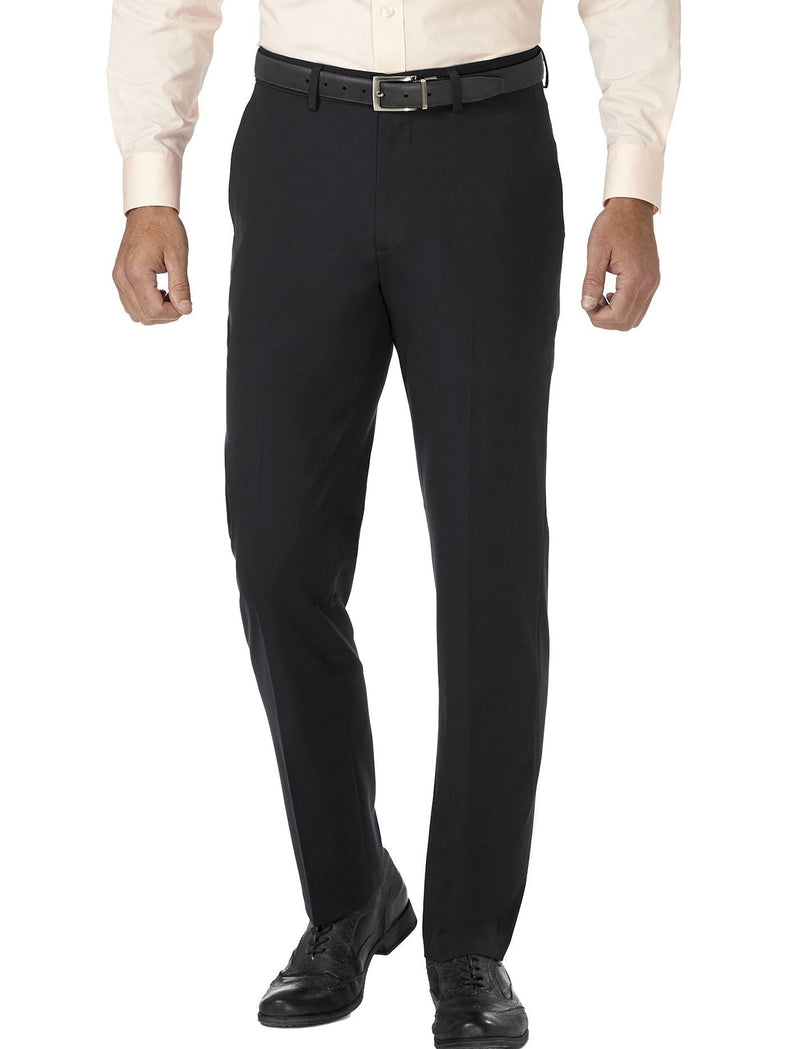 Black Slim Fit Dress Pants Flat Front Pre-hemmed - SUITS FOR MENS