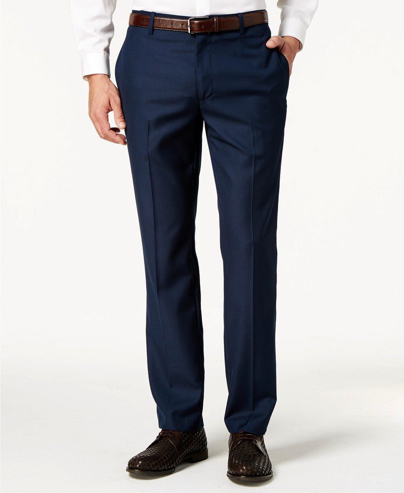 Navy Slim Fit Dress Pants Flat Front Pre-hemmed