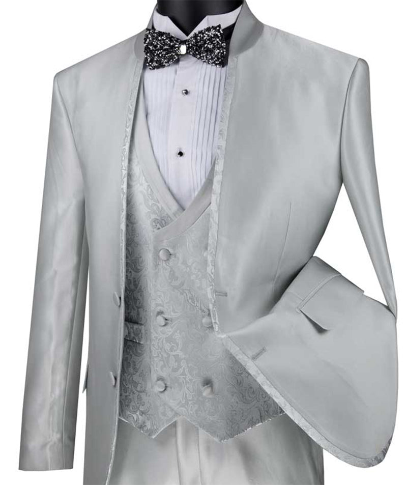 Bourbon Collection - Slim Fit 3 Piece Banded Collar Shiny Sharkskin Suit in Silver