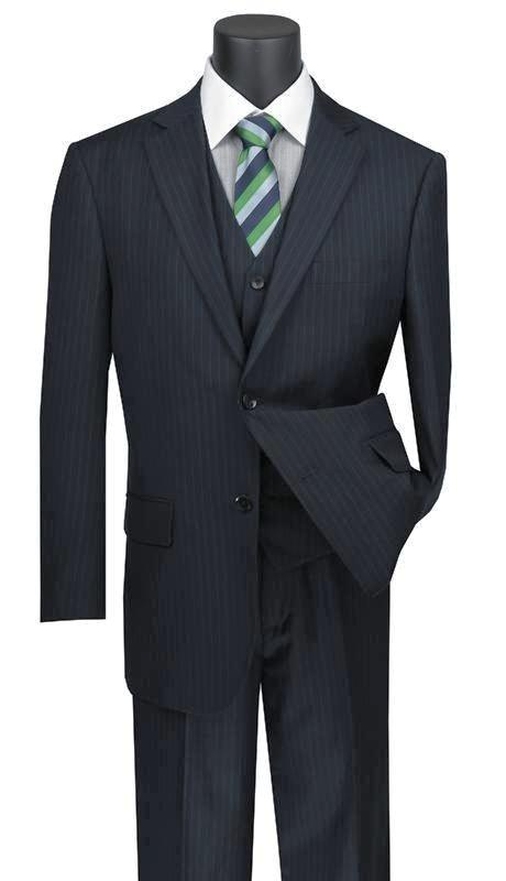 Sovana Collection - Regular Fit 3 Piece Suit 2 Button Tone on Tone Stripe in Navy - SUITS FOR MENS