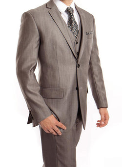 Gray 3 Piece Modern Fit Suit 2 Button V-Neck Vest