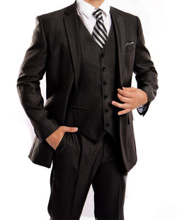Black 3 Piece Modern Fit Suit 2 Button V-Neck Vest