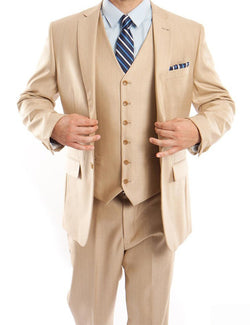 Light Beige 3 Piece Modern Fit Suit 2 Button V-Neck Vest