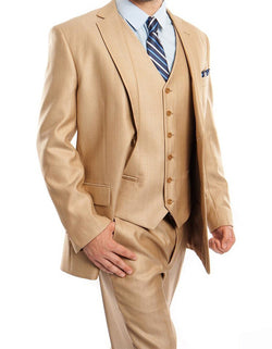 Wheat 3 Piece Modern Fit Suit 2 Button V-Neck Vest