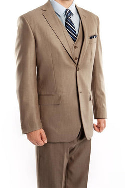 Dark Tan 3 Piece Modern Fit Suit 2 Button V-Neck Vest