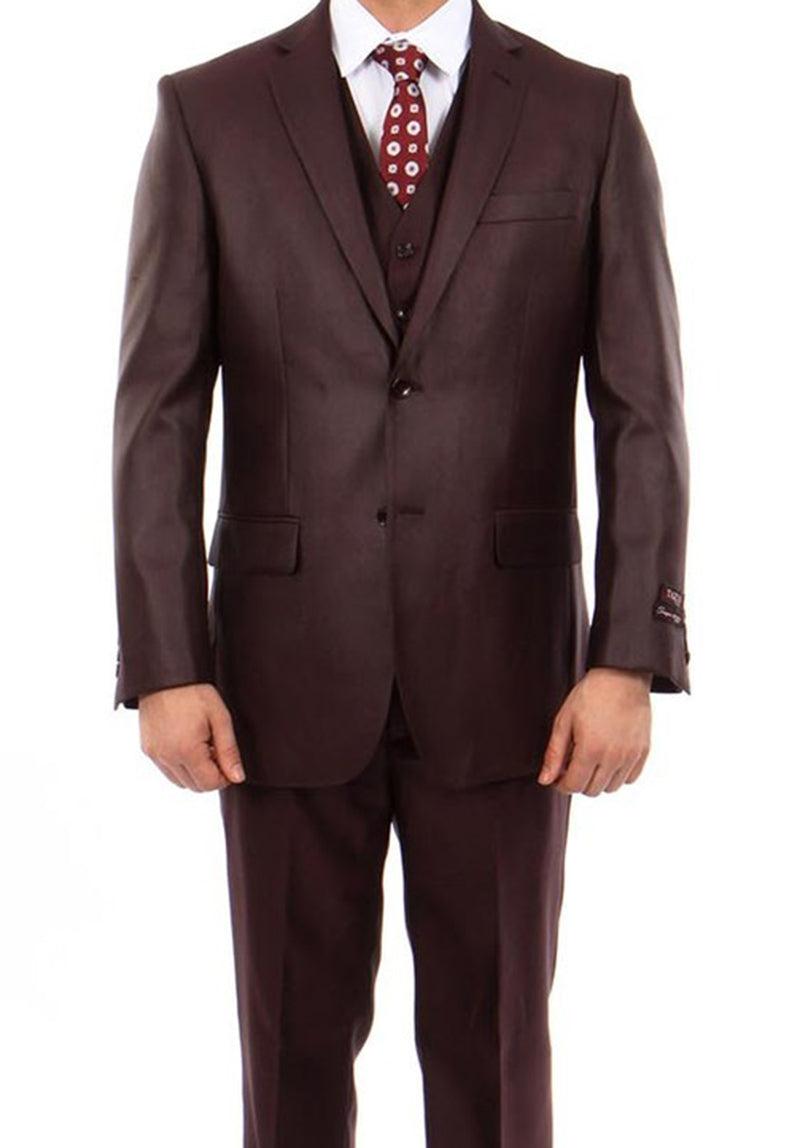 Burgundy 3 Piece Modern Fit Suit 2 Button V-Neck Vest