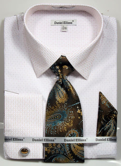 Basic Dress Shirt Regular Fit in White/Beige with Tie and Pocket Square - SUITS FOR MENS
