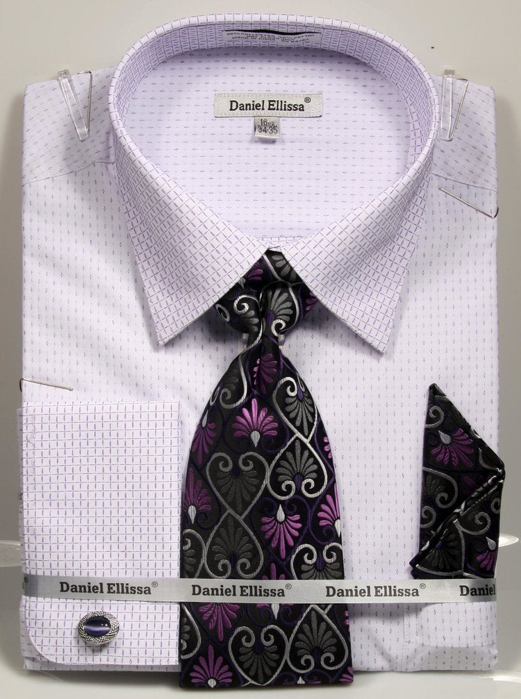 Basic Dress Shirt Regular Fit in White/Purple with Tie and Pocket Square - SUITS FOR MENS