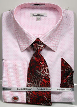 Basic Dress Shirt Regular Fit in White/Red with Tie and Pocket Square - SUITS FOR MENS
