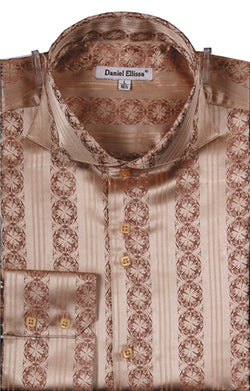 Dress Shirt Regular Fit Detailed Pattern in Mustard - SUITS FOR MENS