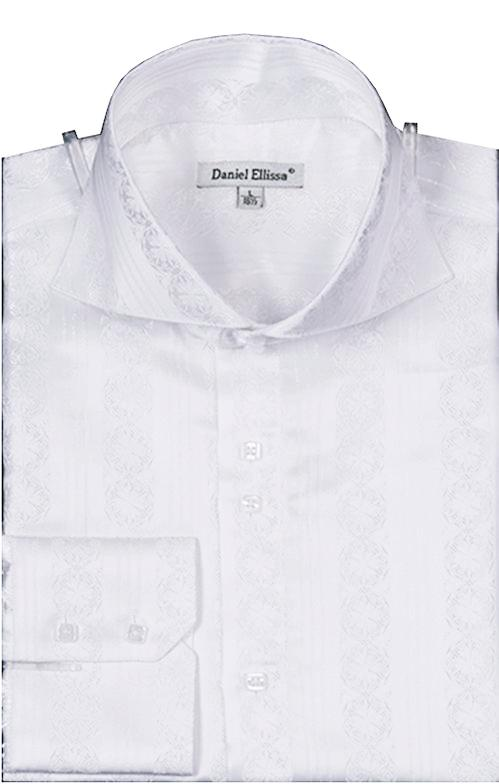Dress Shirt Regular Fit Detailed Pattern in White - SUITS FOR MENS