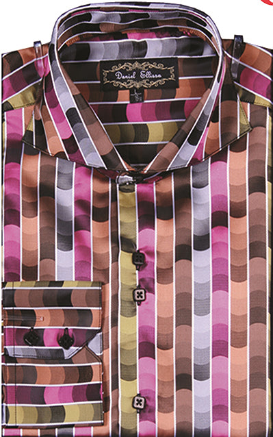 Dress Shirt Regular Fit Fancy Stripe Pattern in Fuchsia - SUITS FOR MENS