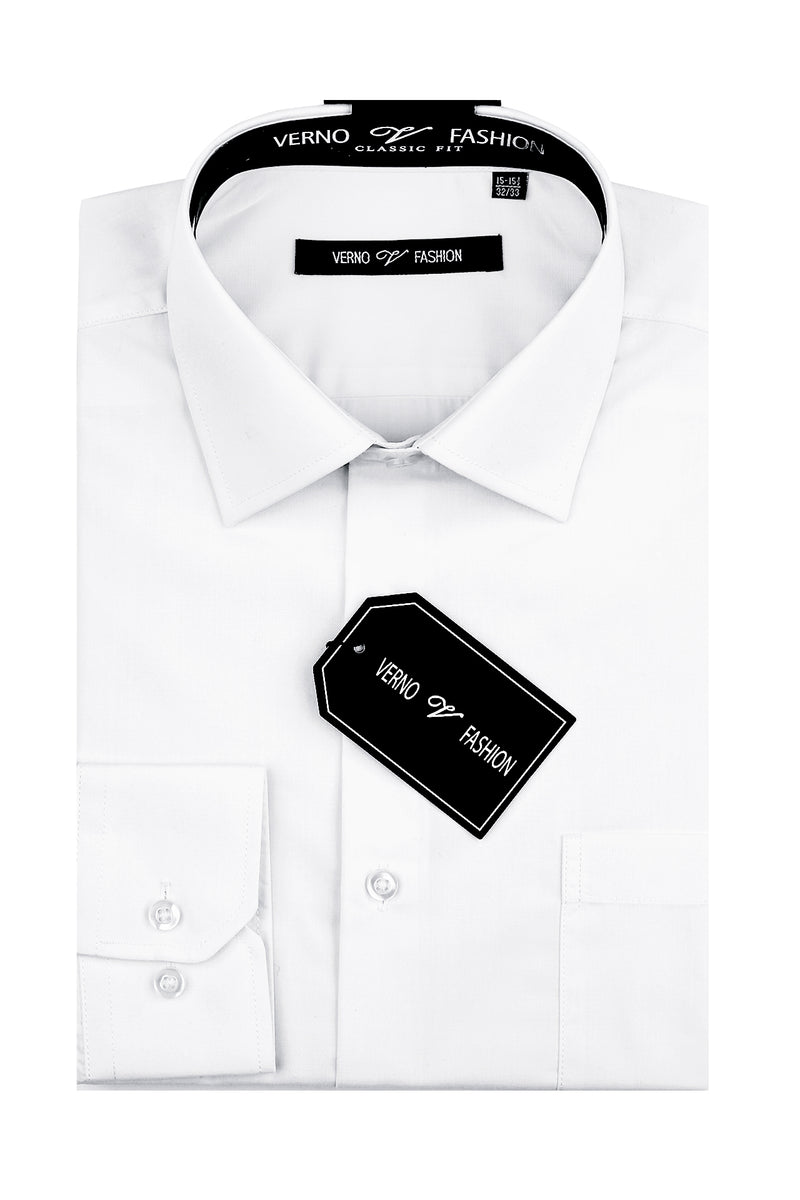Cotton Blend Dress Shirt Regular Fit In White - SUITS FOR MENS