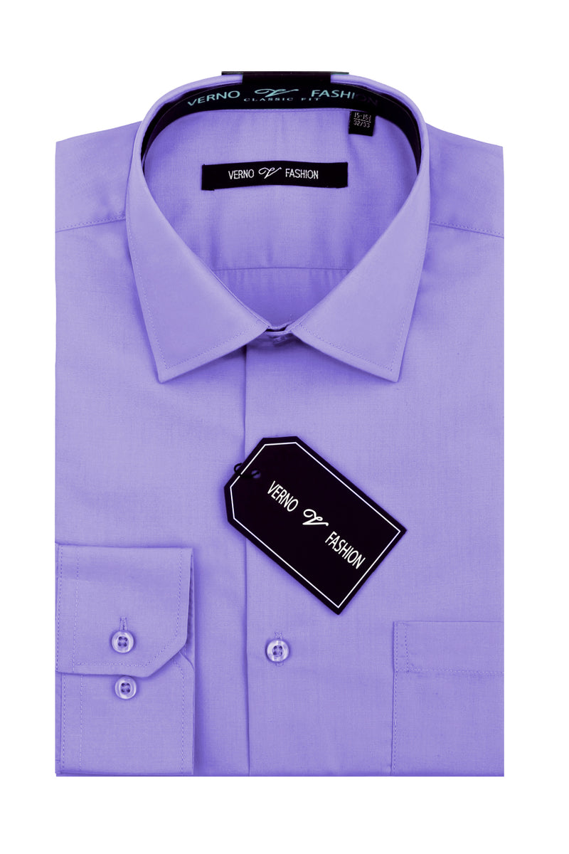 Cotton Blend Dress Shirt Regular Fit In Lavender - SUITS FOR MENS