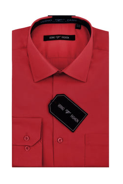 Cotton Blend Dress Shirt Regular Fit In Brick Red - SUITS FOR MENS