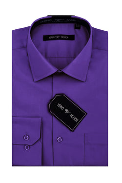 Cotton Blend Dress Shirt Regular Fit In Lilac - SUITS FOR MENS