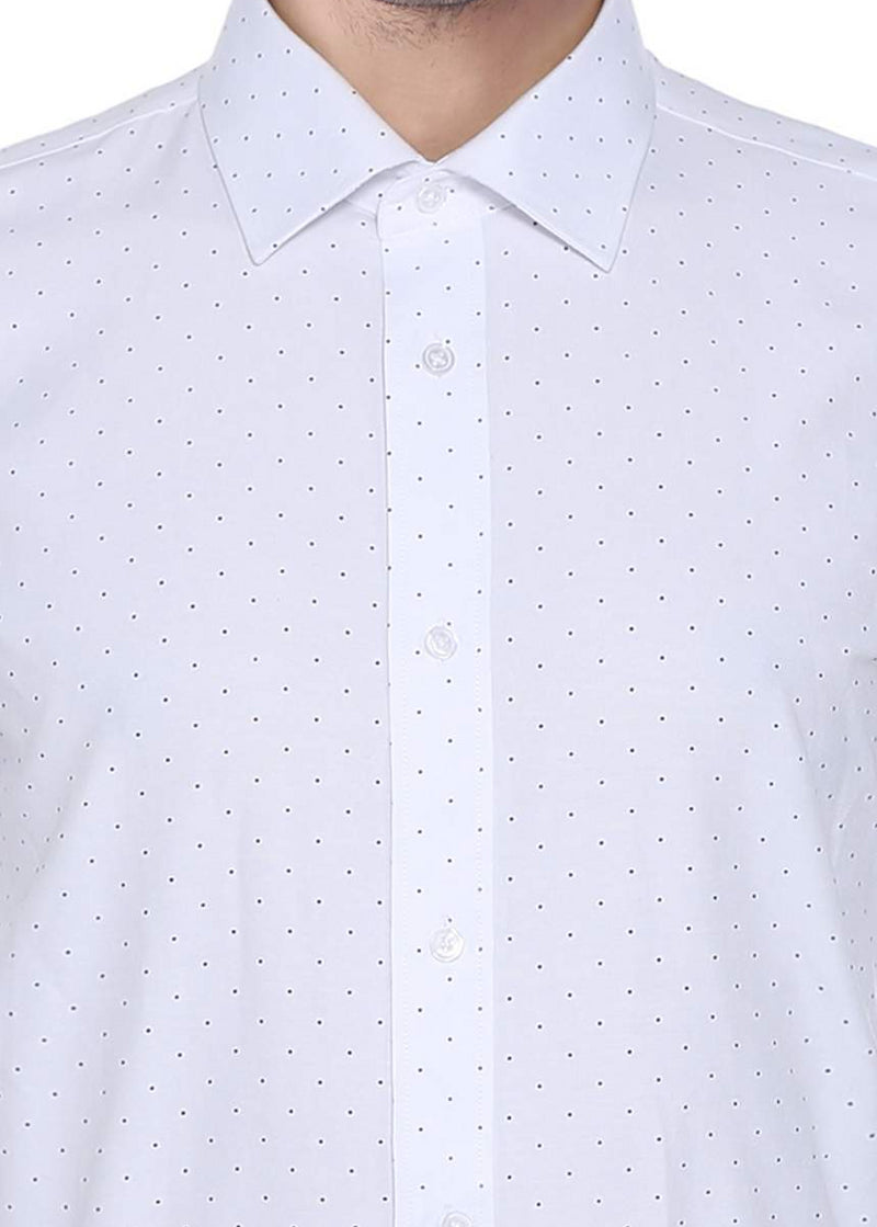 Cotton Blend Polka Dots Dress Shirt Regular Fit In White - SUITS FOR MENS