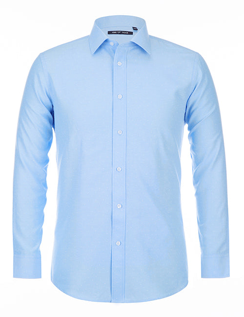 Cotton Blend Polka Dots Dress Shirt Regular Fit In Blue - SUITS FOR MENS