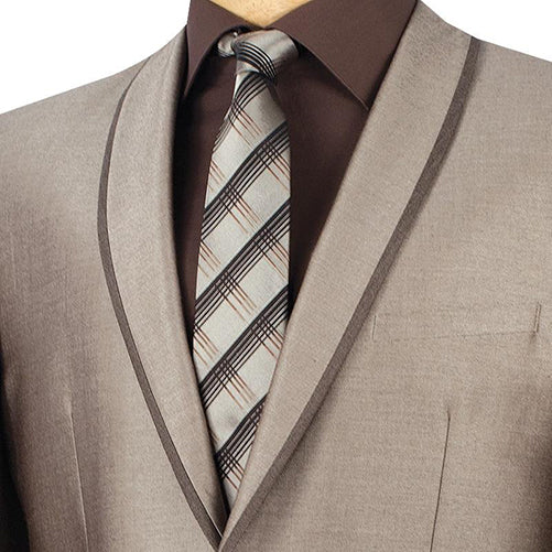 Palazzo Collection - Beige Men's Slim Fit Suit Shawl Lapel 2 Piece - Mens Suits