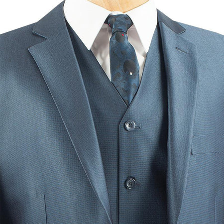 Slim Fit Men's Suit With Vest 3 Piece 2 Buttons in Blue - SUITS FOR MENS