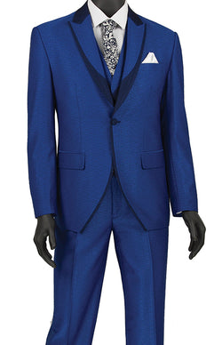 Slim Fit 3 Piece Fashion Tuxedo in Blue - SUITS FOR MENS