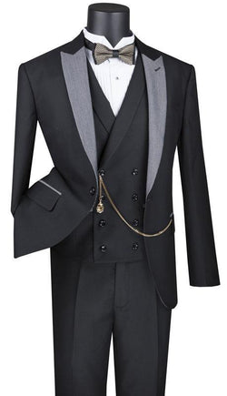 Black Slim Fit 3 Piece Suit 1 Button with Double Breasted Vest