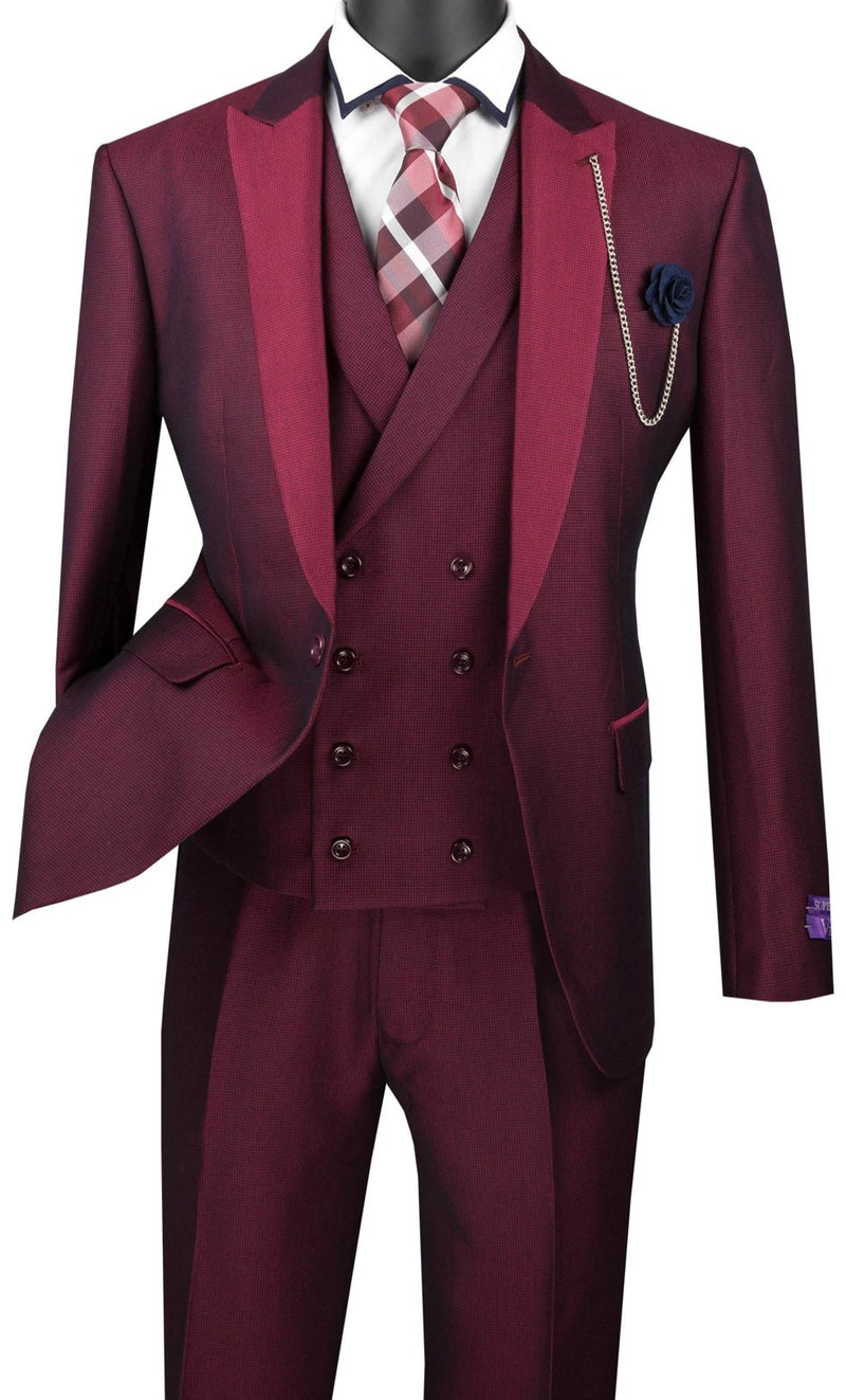 Ruby Slim Fit 3 Piece Suit 1 Button with Double Breasted Vest