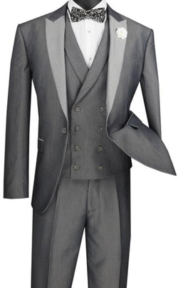 Silver Slim Fit 3 Piece Suit 1 Button with Double Breasted Vest
