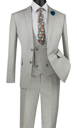 Slim Fit Suit 3 Piece with Double Breasted Vest Glen Plaid in Ice - SUITS FOR MENS