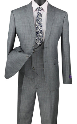 Slim Fit Suit 3 Piece with Double Breasted Vest Glen Plaid in Medium Gray - SUITS FOR MENS