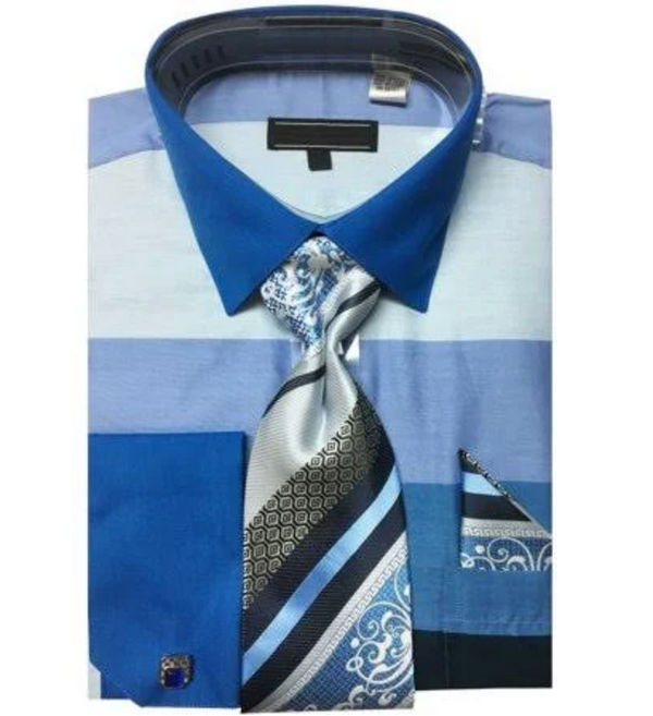 Men's Shirt with Tie and Handkerchief in Blue