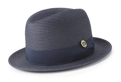 Braided Center Crease Fedora in Navy - SUITS FOR MENS