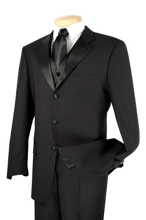 Men's Regular Fit Tuxedo 3 Piece with Vest In Black - SUITS FOR MENS