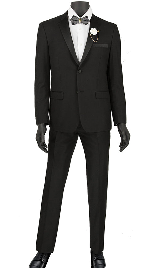 Black Ultra Slim Fit Tuxedo 2 Buttons 2 Piece - SUITS FOR MENS