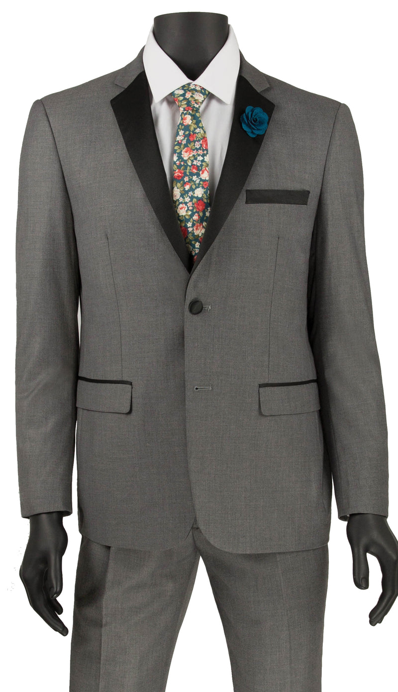 Gray Ultra Slim Fit Tuxedo 2 Buttons 2 Piece - SUITS FOR MENS