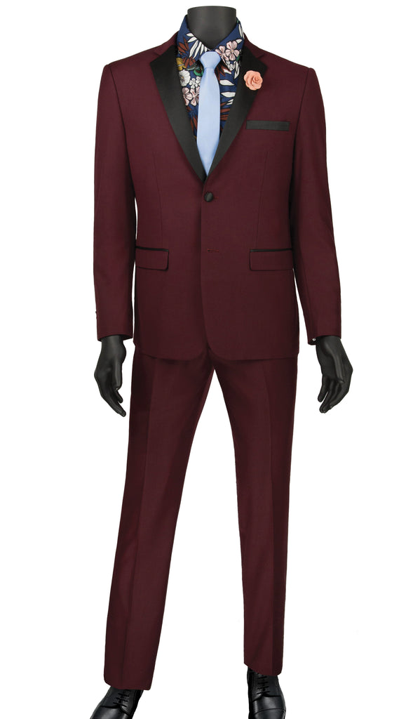 Ultra Slim Fit Tuxedo 2 Buttons 2 Piece in Color Wine - Mens Suits