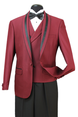 Italian Wool Blend Regular Fit Tuxedo Suit 3 Piece 2 Button Burgundy - SUITS FOR MENS