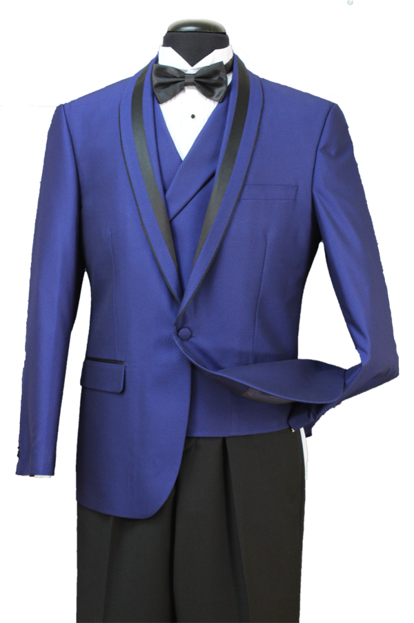 Italian Wool Blend Regular Fit Tuxedo Suit 3 Piece 2 Button French Blue - SUITS FOR MENS