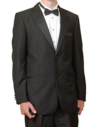 Wool Blend Slim Fit Tuxedo Single Breasted Black 2 Piece - Mens Suits