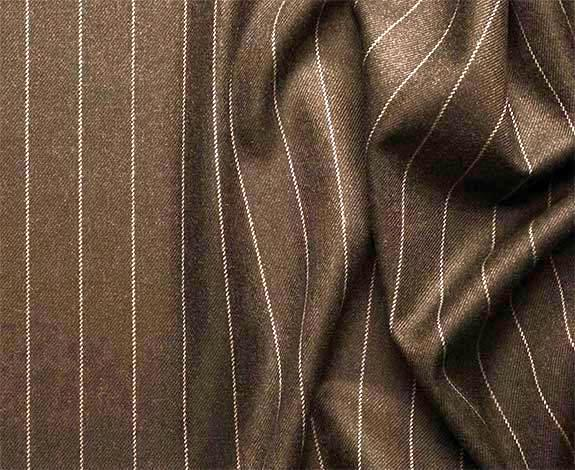Portofino Collection - Regular Fit 3 Piece 3 Button Banker Stripe in Brown - SUITS FOR MENS