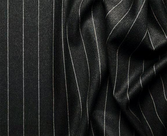 Portofino Collection - Regular Fit 3 Piece 3 Button Banker Stripe in Black - SUITS FOR MENS