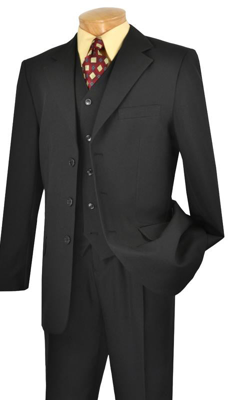 Men's Regular Fit Suit 3 Buttons 3 Pieces in Black - SUITS OUTLETS